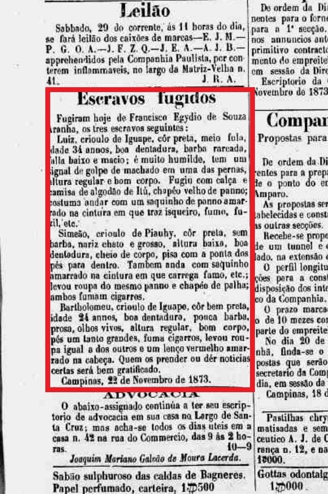 Gazeta de notícias fuga escravos