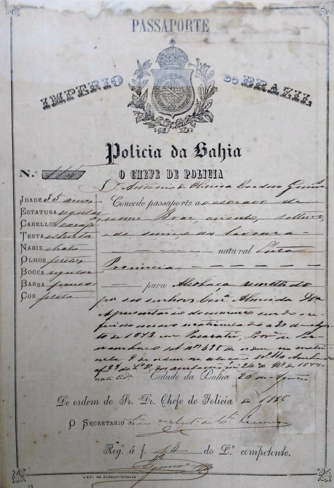 Passaporte de escravo _Fotor